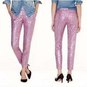 NWT J.CREW Capri Pants Purple Metallic  8